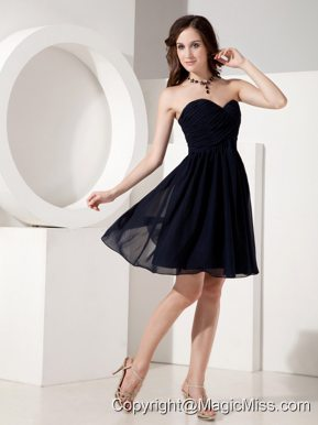 Customize Black Empire Sweetheart Little Black Dress Chiffon Ruched Mini-length