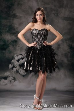 Black Ball Gown Sweetheart Mini-length Special Fabric Prom / Homecoming Dress