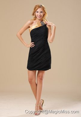 Brighton Beaded Decorate One Shoulder Mini-length Black and Gold Ruched Decorate Bodice Chiffon 2013 Prom / Homecoming