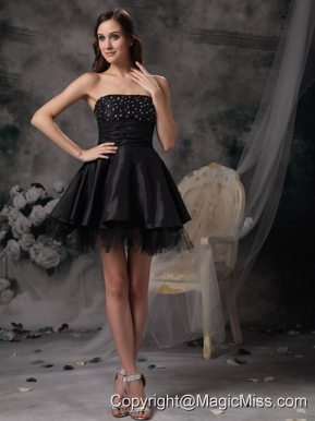 Black A-line Strapless Mini-length Taffeta and Tulle Beading Prom / Homecoming Dress