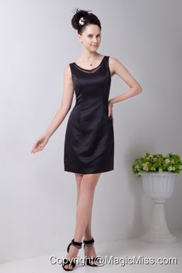 Black Column Scoop Little Black Dress Taffeta Mini-length