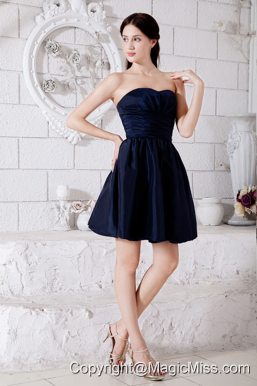 Navy Blue Junior Prom / Homecoming Dress Ruch Princess Strapless Mini-length Taffeta