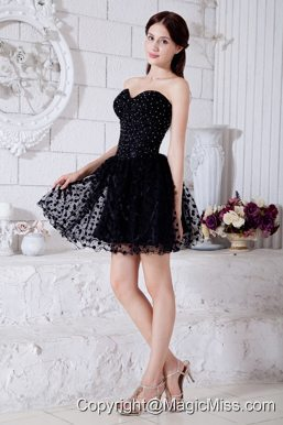 Black A-line / Pricess Sweetheart Short Prom / Homecoming Dress Special Fabric Beading Mini-length