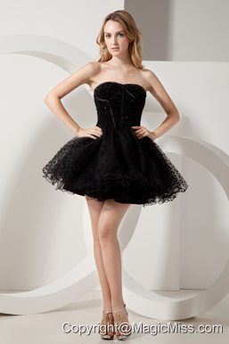 Black A-line Strapless Beading Short Prom Dress Mini-length Organza