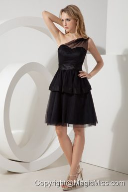 Black A-line / Pricess One Shoulder Sashes Little Black Dress Mini-length Tulle