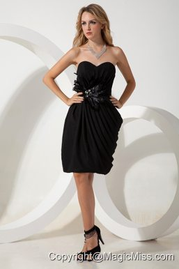 Black Column Sweetheart Hand Made Flowers Little Black Dress Mini-length Chiffon