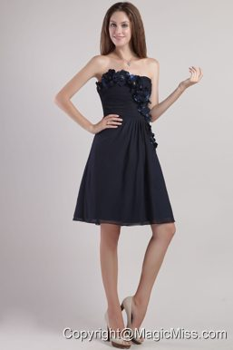 Black Empire Strapless Mini-length Chiffion Appliques Prom / Homecoming Dress