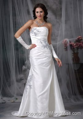 Affordable A-line Strapless Brush TrainTaffeta Appliques and Ruch Wedding Dress