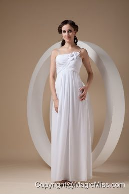 Elegant Empire Spaghetti Straps Ankle-length Chiffon Ruch and Hand Made Flowers Wedding Dress