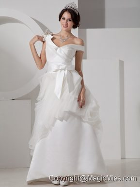 Unique A-line V-neck Floor-length Satin Sash Wedding Dress