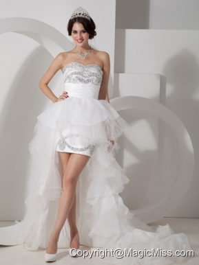 Lovely Column Sweetheart High-low Tulle Beading Wedding Dress