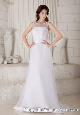 Afforable Column / Sheath Scoop Brush Train Bow Wedding Dress