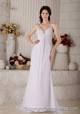 Wonderful Column Spaghetti Straps Brush Train Chiffon Beading Wedding Dress