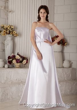 Exclusive Column Strapless Brush Train Satin Ruch Wedding Dress
