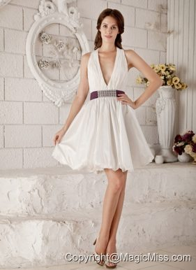 Brand New A-line / Princess V-neck Mini-length Taffeta Beading Wedding Dress