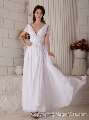 Sexy Empire V-neck Brush Train Chiffon Beading Wedding Dress