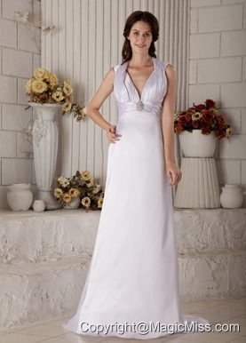 Exclusive Column Halter Brush Train Satin Ruch and Beading Wedding Dress