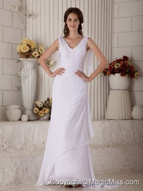 Simple Column V-neck Brush Train Chiffon Ruch Wedding Dress
