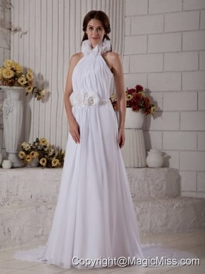 The Brand New Style Column High-neck Court Train Chiffon Hand Made Flowers Wedding Dress