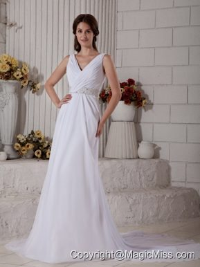 New Column V-neck Court Train Chiffon Ruch and Beading Wedding Dress
