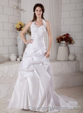 Amazing A-line Halter Court Train Taffeta Ruch Wedding Dress