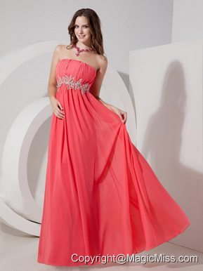 Customize Watermelon Red Empire Strapless Prom Dress Chiffon Beading