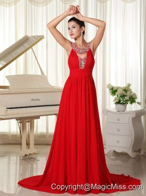 Beaded Decorate Scoop Red Evening Dress Modest Brush Train For Custom Made