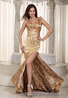 Champagne Column One Shoulder Brush Train Taffeta and Zebra Beading Prom Dress