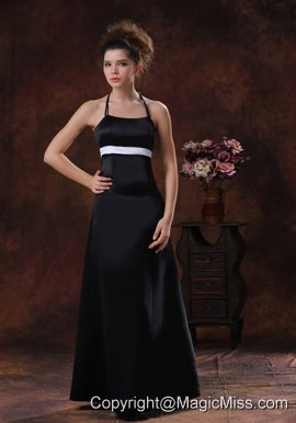 Halter Column Taffeta Floor-length Black 2013 Prom Dress