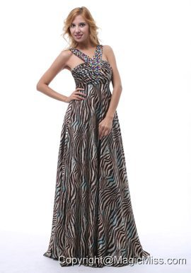Beautiful Zebra Beaded Decorate Straps V-neck Prom / Evening Dress For Custom Made In Gulfport