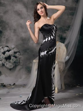 Luxurious Black Column Prom Dress Strapless Brush Train Satin and Zebra Beading