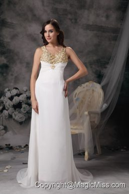 Modest Column V-neck Wedding Dress Chiffon Beading Brush Train