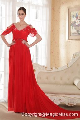 Red Empire V-neck Chapel Train Chiffon Beading Prom Dress