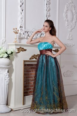 Aqua Column / Sheath Strapless Prom Dress Embroidery Floor-length Organza