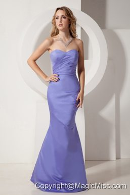 Lilac Homecoming Dress Mermaid Ruch Sweetheart Floor-length Taffeta