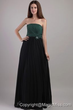 Elegant Peacock Green and Black Empire Strapless Floor-length Chiffon Hand Flowers Prom Dress