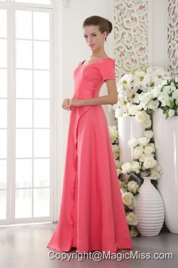 Coral Red Column / Sheath Scoop Floor-length Satin Beading Prom Dress