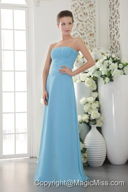 Light Blue Empire Strapless Floor-length Chiffon Ruch Prom Dress