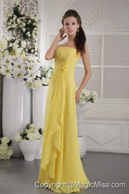 Yellow Empire Strapless Floor-length Chiffon Hand Flowers Prom / Graduation Dress