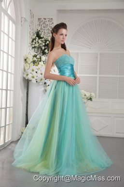 Aqua Blue Princess Sweetheart Brush Train Tulle Beading Prom / Graduation Dress