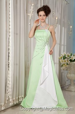 Yellow Green A-line Straps Brush Train Satin Beading Prom Dress