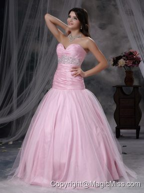 Baby Pink A-line Sweetheart Floor-length Tulle and Taffeta Beading Prom Dress
