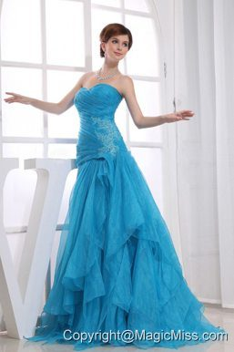 A-Line Floor-length Ruched Organza Sweetheart Prom Dress Blue