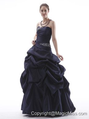 Navy Blue Prom Dress With Beaded and Pick-ups Taffeta Lace-up Black