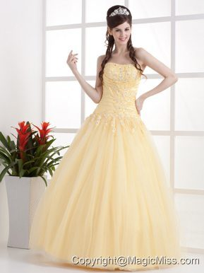 Gold Beautiful Strapless Quinceanera Dress Appliques and Ruch With Floor-length