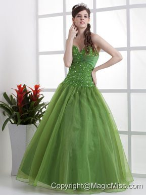 Olive Green Beaded Decorate Bust Quinceanera Dress Sweetheart Organza