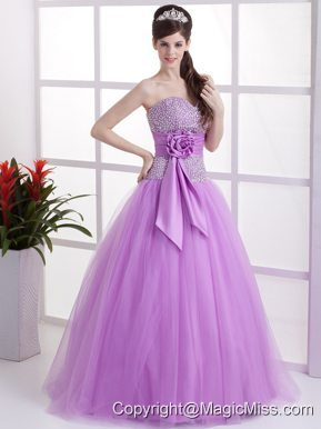 Sweet Lavender Sweetheart Quinceanera Dress Hand Made Flower and Beaded Deaorate Bust In 2013