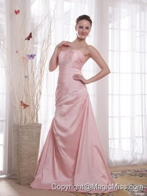 Baby Pink A-Line / Princess Sweetheart Floor-length Taffeta Beading Prom Dress