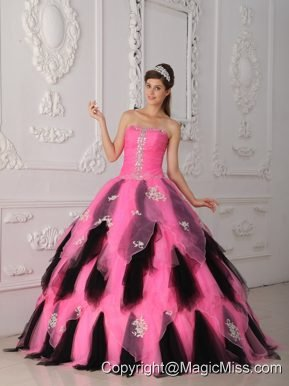 Pink and Black A-Line / Princess Strapless Floor-length Organza Appliques Quinceanera Dress