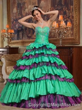 Green Ball Gown Sweetheart Floor-length Taffeta and Organza Beading Quinceanera Dress